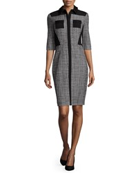 Prabal Gurung Half Sleeve Fitted Shirtdress Black White Women's