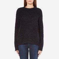 Samsoe And Samsoe Women's Joi O Neck Jumper Dark Blue Melange