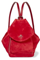 Manu Atelier Fernweh Mini Leather Trimmed Suede Backpack Red