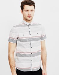 The Idle Man Short Sleeve Stripe Shirt Black