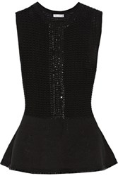 Oscar De La Renta Embellished Wool And Cotton Blend Peplum Top Black