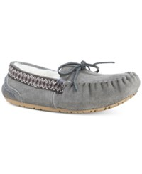 Muk Luks Women's Jane Suede Moccasin Slippers Grey