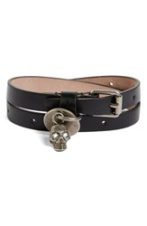 Alexander Mcqueen Men's Skull Charm Leather Double Wrap Bracelet Black Multi