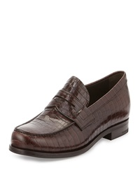 Prada Crocodile Embossed Penny Loafer Brown