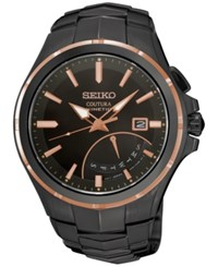 Seiko Men's Automatic Coutura Kinetic Retrograde Black Ion Plated Bracelet Watch 43Mm Srn066