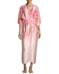 Oscar De La Renta Regal Paisley Satin Charmeuse Wrap Robe Pink Size Medium Large Pink Print