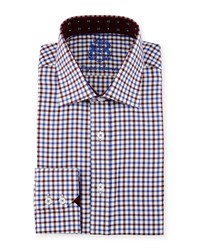 English Laundry Check Woven Dress Shirt Red Blue