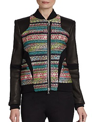 Prabal Gurung Tweed Paneled Leather Bomber Jacket Multi