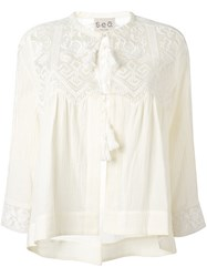 Sea Embroidered Tassel Blouse Nude And Neutrals