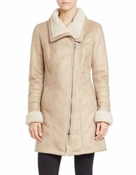 7 For All Mankind Faux Shearling Trimmed Faux Suede Coat Natural
