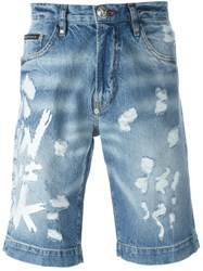 Philipp Plein 'Plein Is Punk' Denim Shorts Blue