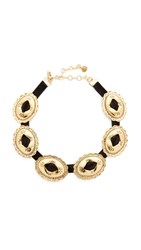 Vanessa Mooney Concho Choker Necklace Black Gold