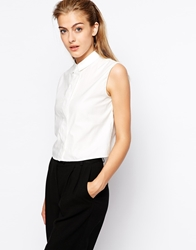 Mango Boxy Sleeveless White Shirt
