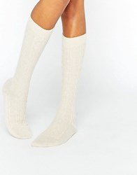 Johnstons Cream Cashmere Long Cable Sock Cream