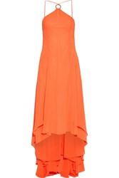 Halston Heritage Asymmetric Georgette Gown Bright Orange