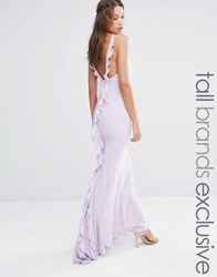 Jarlo Tall Maxi Dress With Ruffle Back Detail Mauve Pink