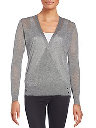 Milly Knit Wrap Front Top Heather Grey