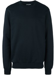 Dolce And Gabbana Embroidered Crown Sweatshirt Blue