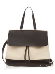 Mansur Gavriel Lady Top Handle Leather And Canvas Bag Black Cream