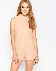 Influence Point Collar Lace Playsuit Pink
