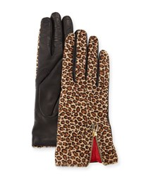 Diane Von Furstenberg Leopard Print Calf Hair Leather Gloves