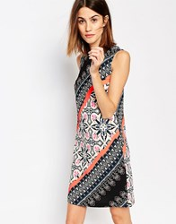 Warehouse Latina Striped Printed Shift Dress Multi