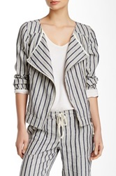 Michael Stars Striped Linen Moto Jacket Gray