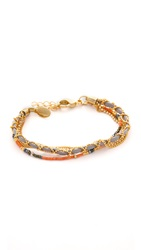 Sogoli Chain And Beaded Wrap Bracelet Gold Coral Grey