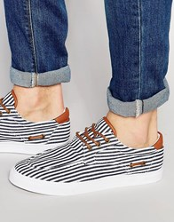 Asos Boat Shoes In Navy And White Stripe Navy