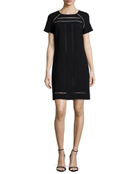 Trina Turk Short Sleeve Chiffon Shift Dress Black