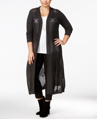 Belldini Plus Size Pointelle Stitch Long Duster Cardigan Heather Charcoal