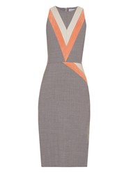 Altuzarra Klein Chevron Patterned Stretch Wool Dress
