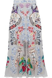 Temperley London Sail Embellished Embroidered Tulle And Crepe De Chine Skirt Gray