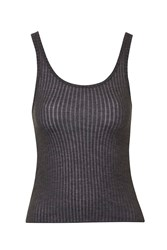 Topshop Strappy Ribbed Vest Charcoal