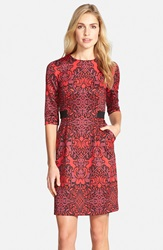 Print Scuba Fit And Flare Dress Online Only Black Red