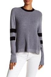 Cullen Multi Stitch Hi Lo Crew Neck Sweater Gray