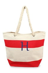 Cathy's Concepts Personalized Stripe Canvas Tote Red Red H