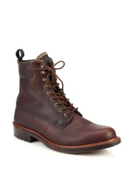 Rag And Bone Officer Lace Up Leather Boots Dark Brown