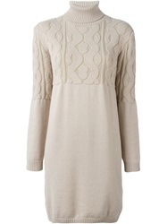 Cacharel Roll Neck Fitted Knit Dress Nude And Neutrals
