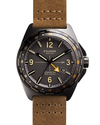 44Mm Journeyman Gmt Watch With Leather Strap Brown Gray Filson