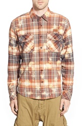 Prps 'Indus' Trim Fit Bleach Plaid Twill Woven Shirt Brown