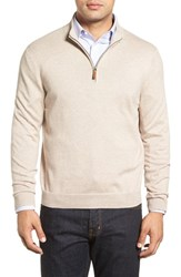 Nordstrom Men's Big And Tall Men's Shop Half Zip Cotton And Cashmere Pullover Beige Goat Heather