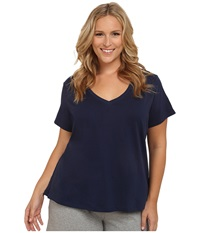 Jockey Cotton Essentials Plus Size V Neck Tee Midnight Navy Women's Pajama Blue