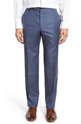 Men's Hickey Freeman Flat Front Solid Wool Trousers