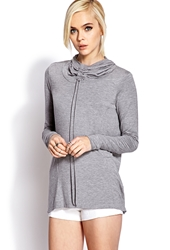 Forever 21 Cowl Neck Hoodie Heather Grey