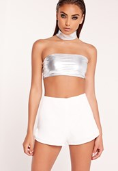 Missguided Metallic Bandeau Bralet Silver Grey
