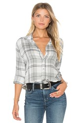 Bella Dahl Whitehaven Flannel Plaid Halle Shirt Gray