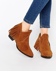 Truffle Collection Margie Fringe Western Ankle Boots Tan Mf