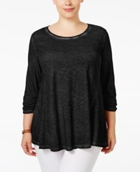 Styleandco. Style Co. Plus Size Ruched Sleeve Swing Top Only At Macy's Deep Black