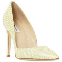 Dune Alia High Stiletto Heel Court Shoes Yellow Leather Reptile